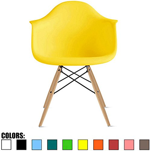 Yellow Natural Wood - 2xhome Yellow Mid Century Modern Plastic Dining Chair Molded with Arms Armchairs Natural Wood Legs Desk No Wheels Accent Chair Vintage Designer for Small Space Table Furniture Living Room Desk DSW