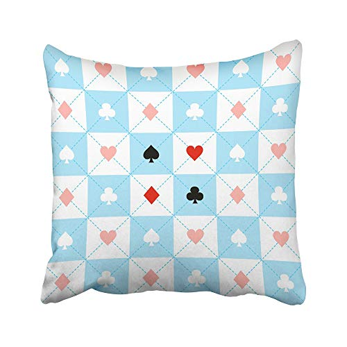 Emvency Decorative Throw Pillow Covers Cases Alice Suits Blue Red White Chess Board Diamond Wonderland Casino Abstract Antique Black Check 16x16 inches Pillowcases Case Cover Cushion Two Sided -