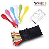 Camping & Outdoor Sporks | Spoon 18 Pack, Durable & BPA Free Tritan Sporks, Spoon Fork & Knife Combo Utensils, Portable Strong Waterproof Bag, with Stainless Multifunctional Bottle Opener, 6 Colors