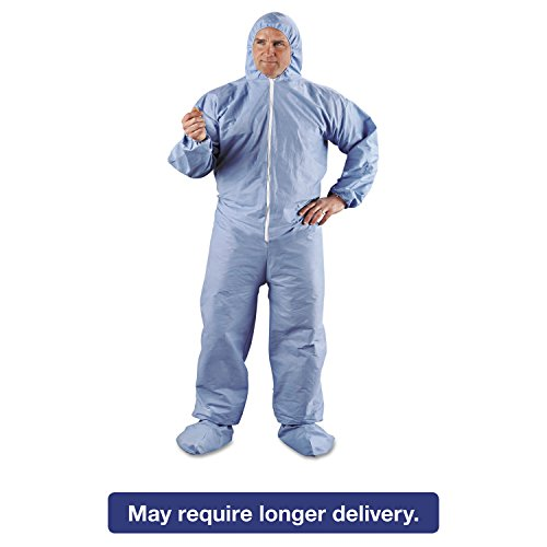 KleenGuard 45356 A65 Hood & Boot Flame-Resistant Coveralls Blue 3X-Large 21/Carton