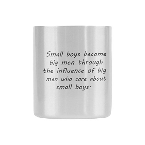 Father's Day Gift Love Quotes Small boys become big men through the influence of big men who care about small boys.Coffee/Tea Insulated Mug 10.5oz-Two Sides