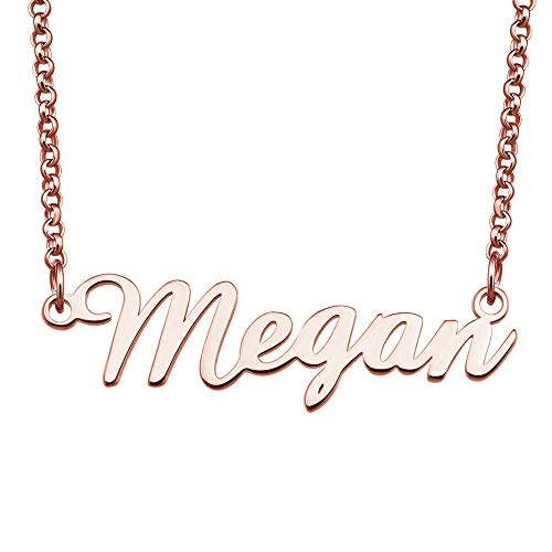 Megan Jewel - EV.YI Jewels Stainless Steel Plated Customized Personalized Custom Rose Gold Name Necklace Gift for Megan