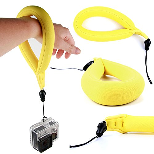 DURAGADGET Lightweight Waterproof Neoprene Camera Float/Floating Wrist Strap in Yellow for HILLPOW SJ8000 4K WiFi Action Sports videocamera