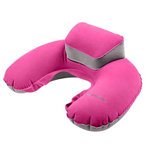 Portable Travel Pillow Inflatable Neck Pillow U Shape Neck Blow Up Cushion PVC Flocking Pillow Support Flight Travel Accessory Pink (Emergency Blow Up Bed)
