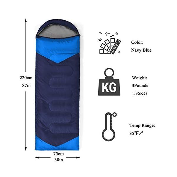 YOUMAKO Backpacking Sleeping Bag for Adults & Kids - Lightweight, Waterproof,Comforable for 4 Season Hiking, Traveling, Camping 4