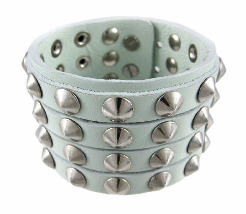 Zeckos Gray Leather 4 Row Cone Spiked Wristband Wrist Band