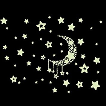 Kinderzimmer sternenhimmel  DESIGN FREUNDE Selbstklebende Leuchtsterne Sterne Sternenhimmel ...