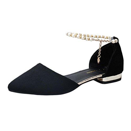 Scarpe Tacco Elecenty Sandali Donna Perline Basso Nero Casual con Caviglia Moda a con scarpa Punta x11wqU0R