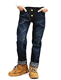pipigo Boys Denim Pants Distressed Fit Childrens Fashion Jeans