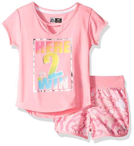 Winning Set - RBX Girls' Toddler Active Top and Short Set, Winning Pink, 3T