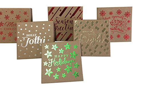 Christmas Gift Card holders brown kraft with red green and silver hot stamp 6 pk