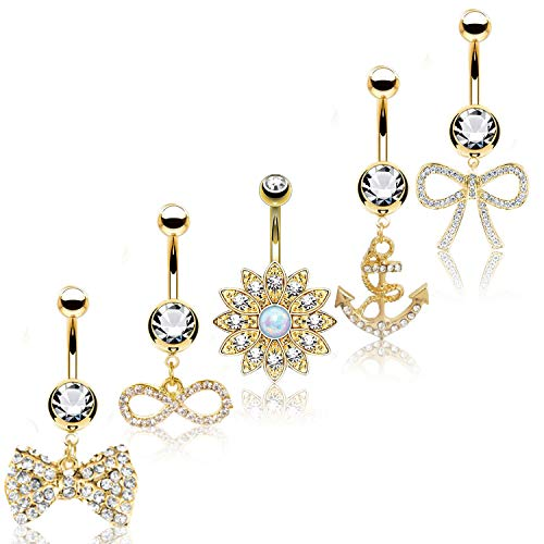 BodyJ4You 5PC Belly Button Rings Bow Flower Anchor Dangle Goldtone Bar 14G Women Navel Piercing