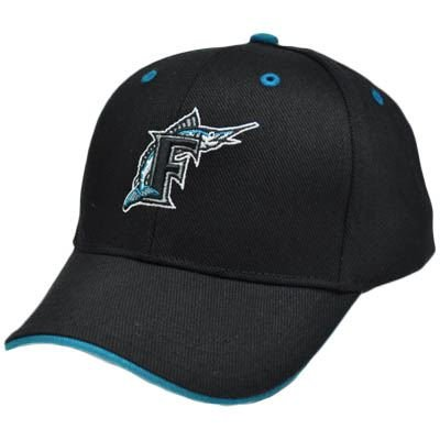 MLB Miami Florida Marlins Youth Kids Black Teal Blue Constructed License Hat Cap