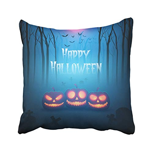 Emvency Escape Pumpkin in Forest of Death Silhouettes for Halloween Ghost Monster Tree Fantasy Party Terror Night Throw Pillow Covers 20x20 Inch Decorative Cover Pillowcase Cases Case Two Side ()