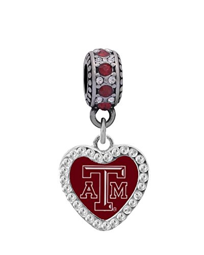 Texas A&M Crystal Heart Charm Fits European Style Large Hole Bead Bracelets Personality, Reflections, Silverado and More (Bead Silverado Charm)