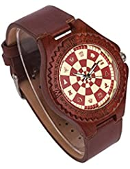 Ultribe Mens Wooden Watch with Japanese Quartz Movement Luminous Pointer Lightweight Handmade Wood Wrist watch...