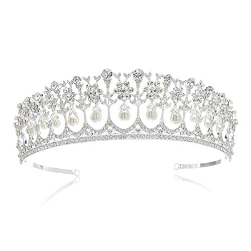 SWEETV Royal Pearl Tiara Vintage Rhinestone Crown Bridal Jewelry Wedding Hair Accessories, ()