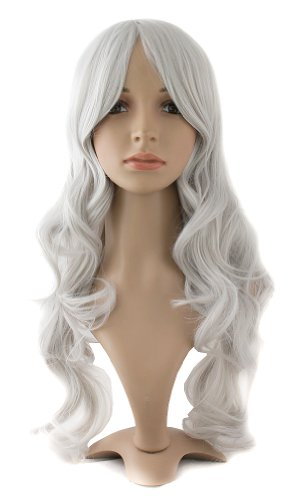 MapofBeauty 24 Inch/60cm Charming Synthetic Fiber Long Wavy Women's Party Full Wig (Silver Grey) ()
