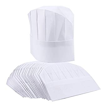 4ca6be442b3 Amazon.com  Chef Hats – 24-Pack Disposable White Paper Chef Toques ...