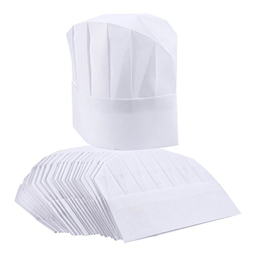 Chef Hats – 24-Pack Disposable White Paper Chef Toques, Chef Supplies, Adjustable Professional Kitchen Chef Caps for Baking, Culinary Hygiene, Cooking Safety, 20-22 Inches in Circumference by Juvale (Image #3)