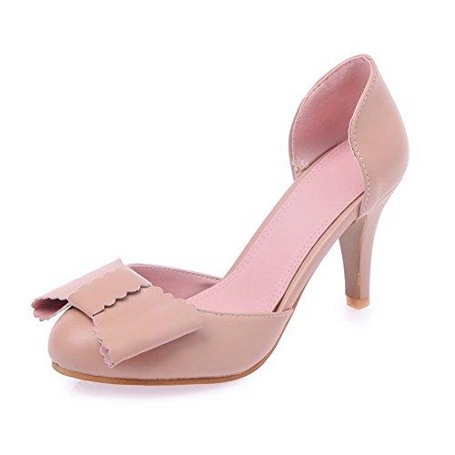 Amoonyfashion Femmes Matériau Doux Rond Fermé Orteils Chaton Talons Tirer Sur Des Chaussures Solides Chaussures Rose