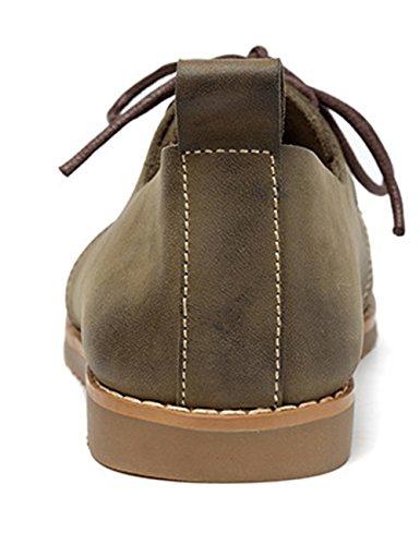 Zoulee Mujer's Round Toe Nuevo Cuero Con Cordones Planos Zapatos Estilo 2 Verde