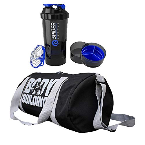 CP Bigbasket Combo of Polyester 25 Ltrs Gym Sport Duffle Bag Travel Bag, Gym Shaker, Protein Shaker (Multicolor)