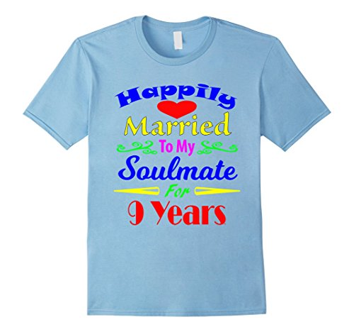 Price comparison product image Mens Happily Married To My Soulmate For 9 Years Tshirt Marriage 3XL Baby Blue