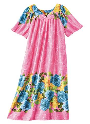 (AmeriMark Lounger House Dress with Pockets for Women Muu Muu Nightgown)