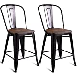 """Product review for Costway Copper Set of 2 Tolix Style Metal Dining Chairs with Wood Seat Stackable Industrial Cafe Side Chairs (Height 23.6"""")"""