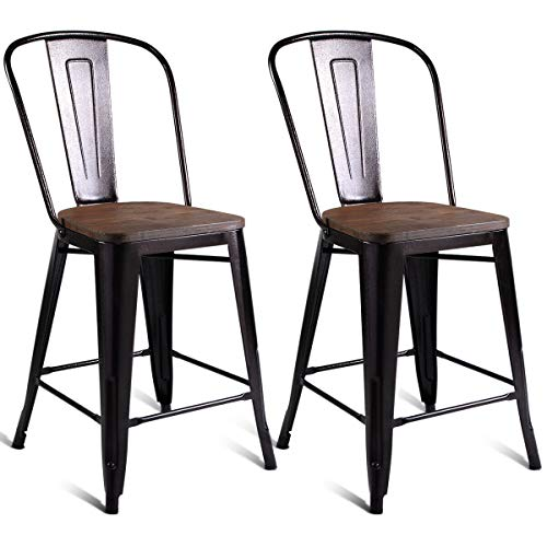 COSTWAY Copper Set of 2 Tolix Style Metal Dining Chairs with Wood Seat Stackable Industrial Counter Stool Cafe Side Chairs - Room Bar Metal Dining Stool