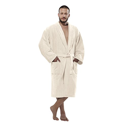 100% Turkish Cotton Frette Striped Velour Shawlcollar Men's Bathrobe by Chesme Ivory-XL