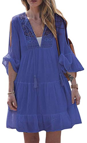 590c94919e8c SxClub Women's Casual Chiffon Blouse Hater Long Tunic Tank Tops Dovetail  Hem Dresses