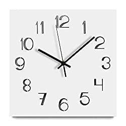 Jpettie White Modern Wall Clock, Silent No Ticking Square Wall Clock, Living Room Home Decor with Arabic Numerals (Frameless)