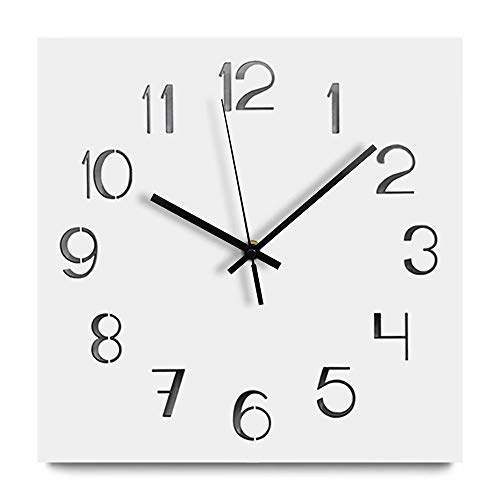 Jpettie White Modern Wall Clock, Silent No Ticking Square Wall Clock, Living Room Home Decor with Arabic Numerals (Frameless) - Clock Arabic Square