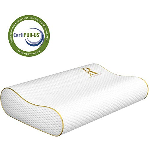 Memory Foam Pillow, Neck Pillow - Royal Therapy Bamboo Adjustable Side Sleeper Pillow for Neck & Shoulder, Support for Back, Stomach, Side Sleepers, Orthopedic Contour Pillow, CertiPUR-US Certified (Best Pillow For Back Pain Side Sleeper)