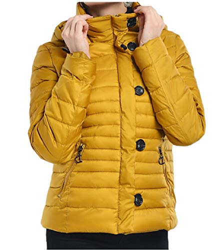 security Women's Lightweight Water-Resistant Packable Hooded Down Jacket Yellow