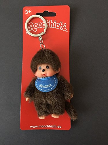 "Sekiguchi Classic Monchhichi 4"" Boy plush with Blue Bib Key Chain"