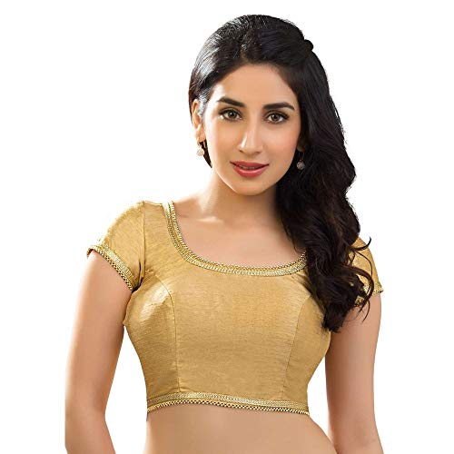 Designer Indian Traditional Gold Dupion Silk Padded Half Sleeves Saree Blouse Choli (X-287)