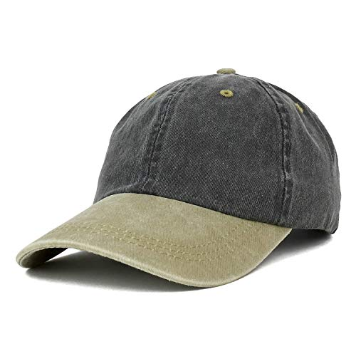 (Trendy Apparel Shop Low Profile Unstructured Pigment Dyed Two Tone Baseball Cap - Black Khaki)