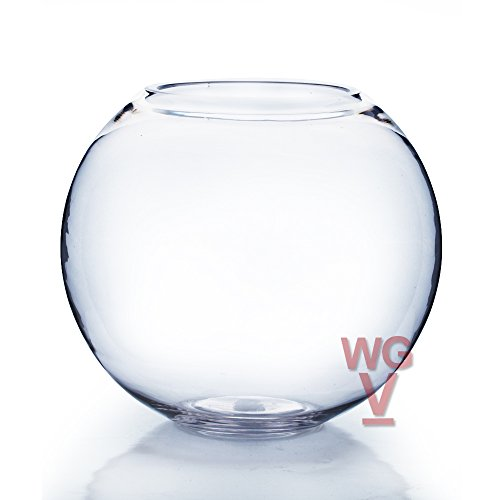 Hand Blown Glass Fish Bowl - WGV Clear Bubble Bowl Glass Vase, 6-Inch with Glass Cleaning Cloth