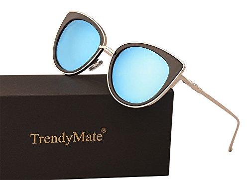 TrendyMate Women Metal Cute Cat Eye Sunglasses Mirror Lens Coating Sunglasses Fashion Eyewear (blue, - Mirror Coating Sunglasses