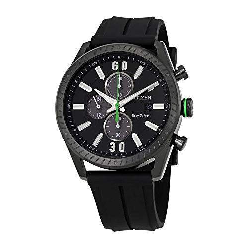 Citizen Men's CTO Black Dial Chronograph Rubber Strap Watch ()