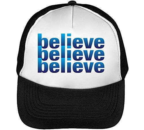 Believe Gorras Hombre Snapback Beisbol Negro Blanco