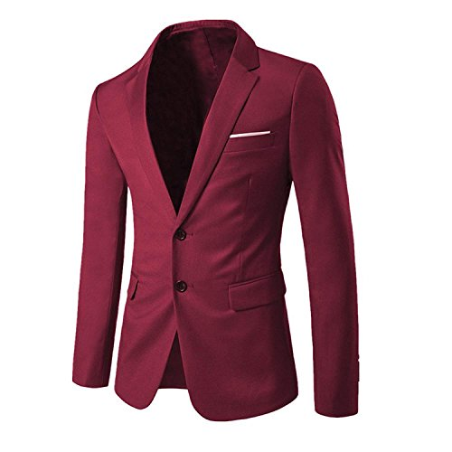 - YIMANIE Mens Slim Fit Casual Blazer Two Buttons Business Lapel Jacket Suit Coat