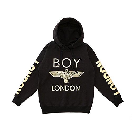 BOY London Unisex (S,M,L,XL) London Printed On Sleeves Hoodie - Black New_(BG3HD028) (Large) by BOY London