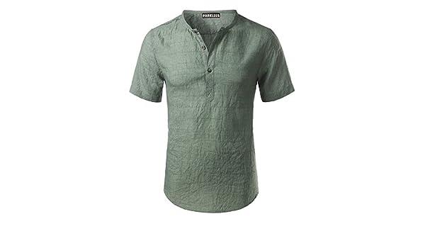 Sonjer Cotton Linen Shirt Men New Short Sleeve Mens Henley Shirt Casual Slim Fit Plaid Mens Dress Shirt 3 Buttons Chemise Homme Green Asian Size XXXL at ...