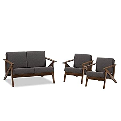 Amazon.com: Home Square 3 Piece Mid Century Modern Sofa Set with ...