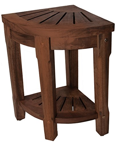 18″ Small Corner Teak Shower and Spa Bench Table