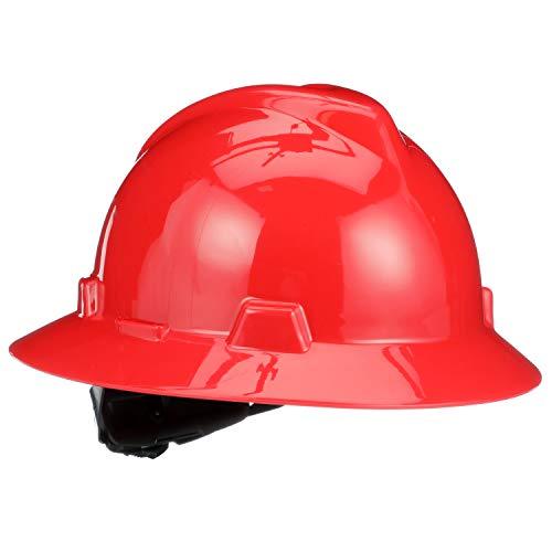 MSA 475371 V-Gard Hard Hat Full Brim with Ratchet Suspension, Standard, Red]()